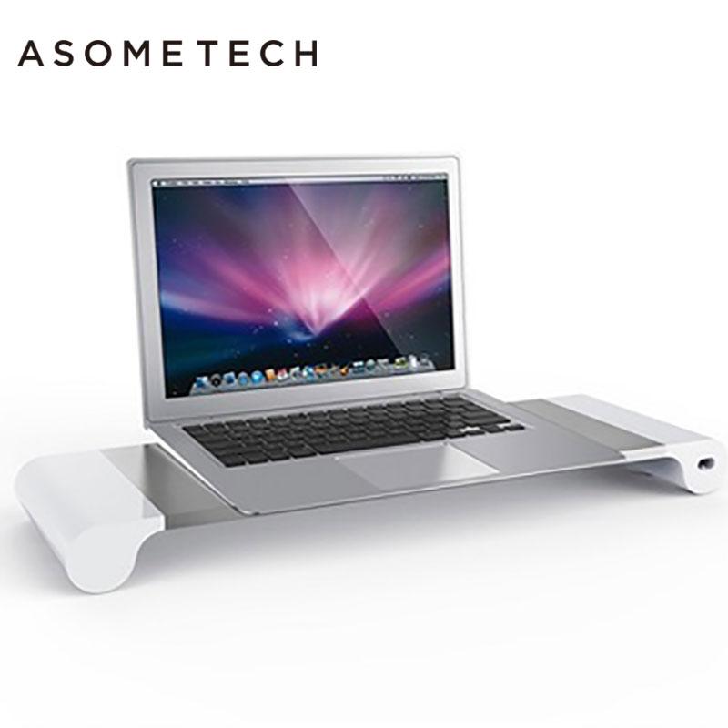 Aluminum Alloy Desktop Monitor Stand for iMac MacBook Air Pro Space Bar Non-Slip Riser 4-Ports USB charge Laptop Mount Holder aluminum alloy base stand for monitor and laptop with 4 usb ports