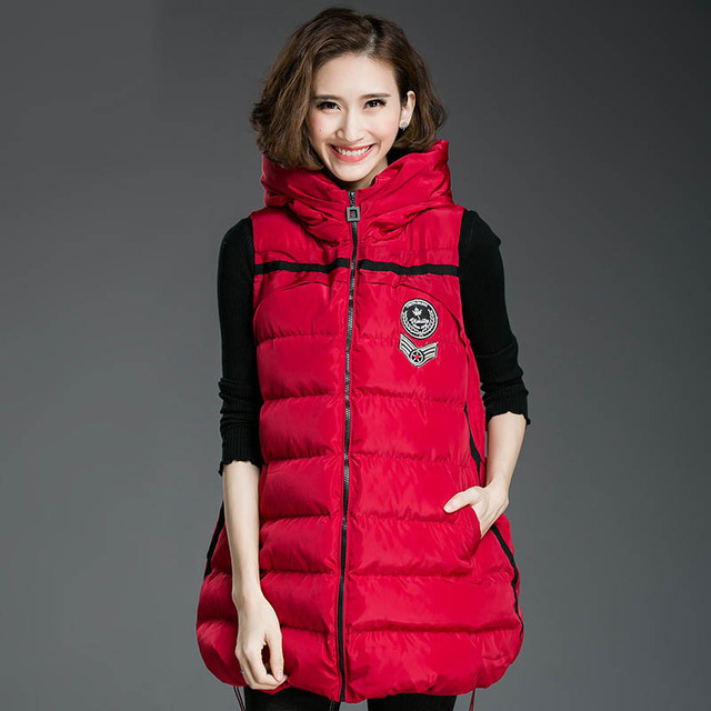 2016 Winter Vests for Women Casual Badge Warm Thick Loose Hooded Long Vests Plus Size 3XL 4XL 5XL Black Red D8151