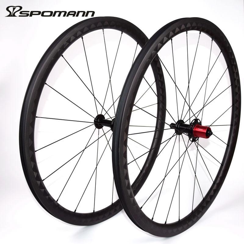 SPOMANN Carbon Fibre Bicycle wheel 700C Road Clincher Wheelset Super Light 35mm Carbon Bike wheels Parts 9 / 10 / 11 speeds