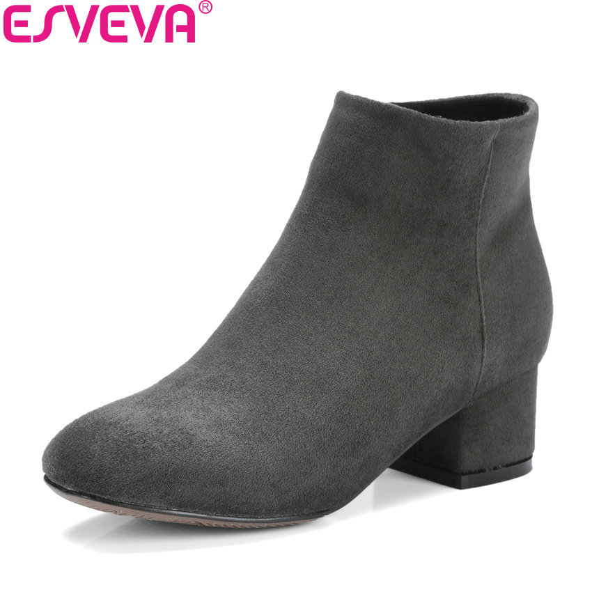ESVEVA 2018 Women Boots Short Plush Winter Shoes Square Med Heel Ankle Boots High Quality Sewing Western Ladies Boots Size 34-43