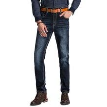 Men's Slim Jeans Comfortable Denim Tight Business Styles Cubic Cut Men's Trousers Dark Blue Size