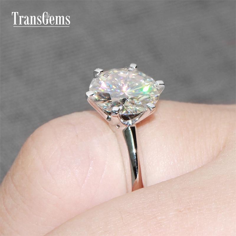 купить Transgems 14k White Gold Center 4ct Carat Diameter 10mm F Color Moissanite Engagement Ring For Women Classic Wedding Ring по цене 41873.99 рублей