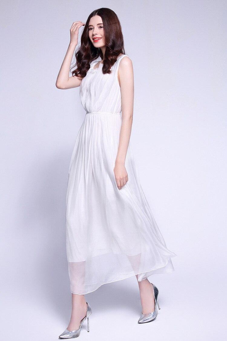 5938078509e D été Top Robe Soie Femmes Élégant De Pour 100 Les Bohème Qualité 2019 Maxi  Pure ...