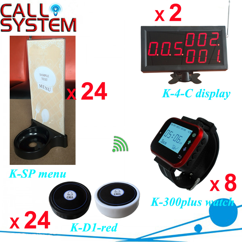 Ycall Smart watch waiter pager system 2 number screen 8 clock 24 table button with menu holder one set wireless system waiter caller bell service 1 watch wrist pager with 5pcs table customer button ce passed