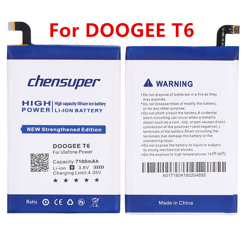 2pcs/NEW for Homtom HT6 Battery 7100mAh New Replacement accessory accumulators For Homtom HT6 & DOOGEE T6 Cell Phone(China)