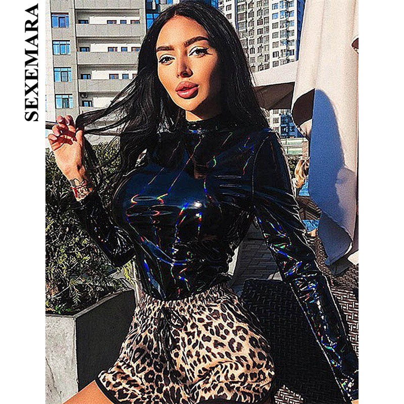 BOOFEENAA Black PU Leather Holographic Sexy Bodysuit Women Fashion 2019 Turtleneck Long Sleeve Tops   Jumpsuit   Clubwear C76-AE09