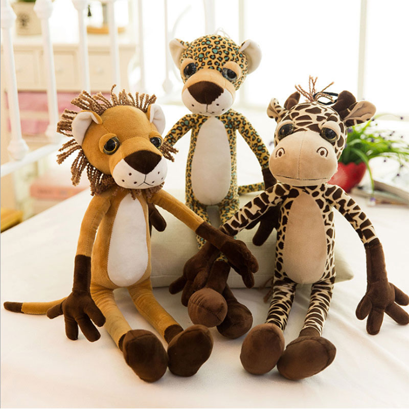 Cartoon Lion Tiger Giraffe Leopard Stuffed Animal Toys Plush Baby Kids Doll for Girls Children Birthday Christmas Gift cartoon sika deer stuffed jungle animal plush toys kids doll schattige knuffel wedding decoration pelucias toys for girls 50g475