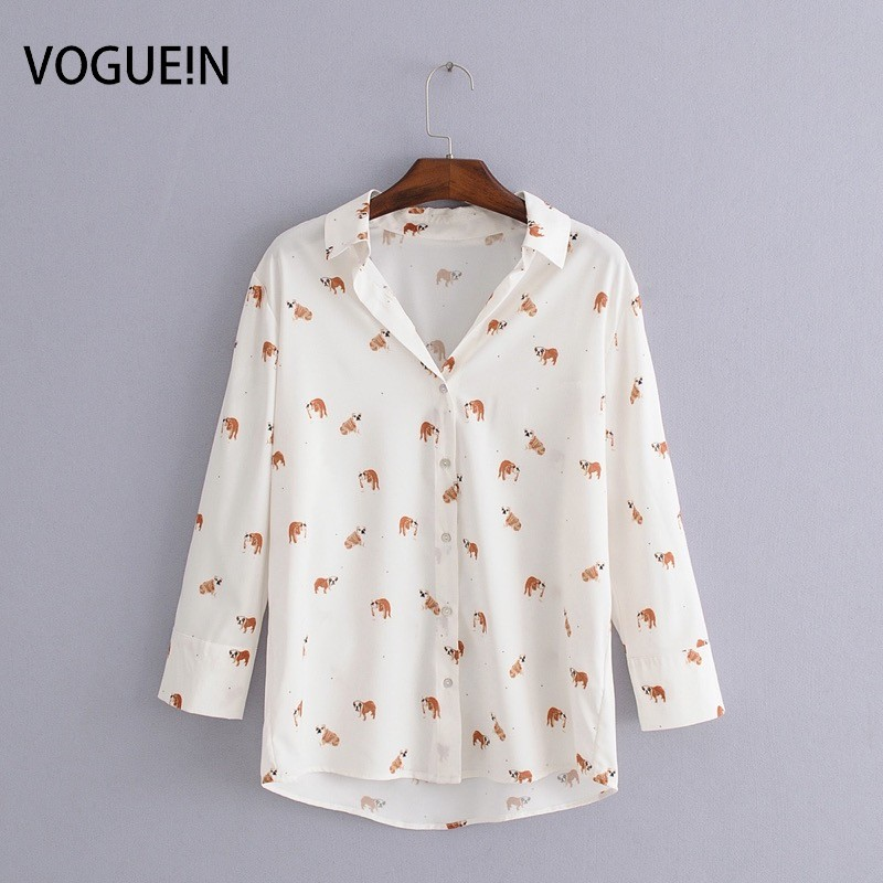 VOGUEIN New Womens Casual Cute Animal Dogs Print 3/4 Sleeve   Blouse     Shirt   Tops Wholesale