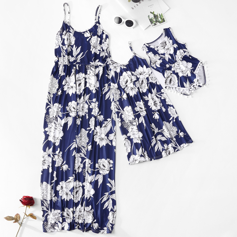 9cc12a803abb5 US $6.88 49% OFF|Mom and Daughter Dress Mommy and Me Blue Yellow Floral  Printed Long Dress Mother Daughter Dresses Mother Daughter Baby Clothes-in  ...