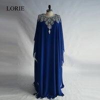 Abendskleid с длинным рукавом Вечерние платья 2017 Лори плюс Размеры Королевский синий шифон платье для выпускного вечера мусульманская партия