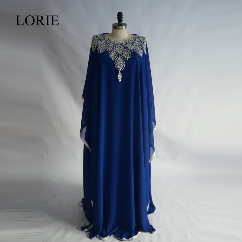 Abendskleid Long Sleeve   Evening     Dresses   2017 LORIE Plus Size Royal Blue Chiffon Prom   Dress   Muslim Party Vestido de noche largo