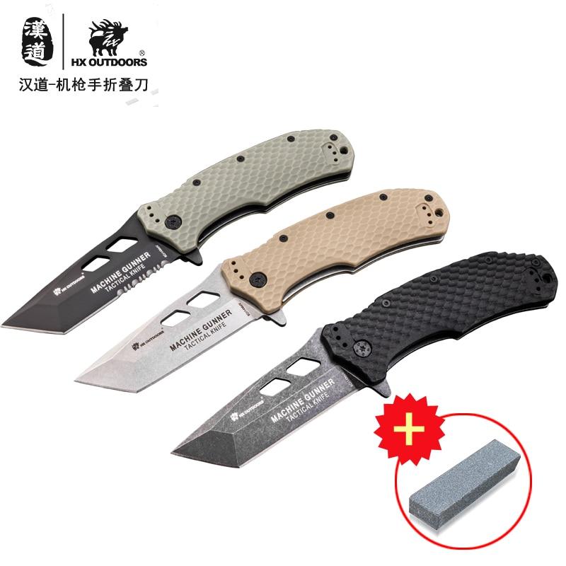 HX DOTDOORS ZD-029 G10 Handle 8CR14MOV Blade Camping High Sharp Survival Folding Knife, Outdoor Self-defense Knife
