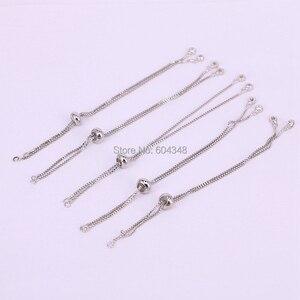 Image 2 - 20PCS Gold/Schwarz/Rose Gold/Silber Farbe Kette Armband Einstellbar Kette Macrame Armband Für DIY Frauen schmuck