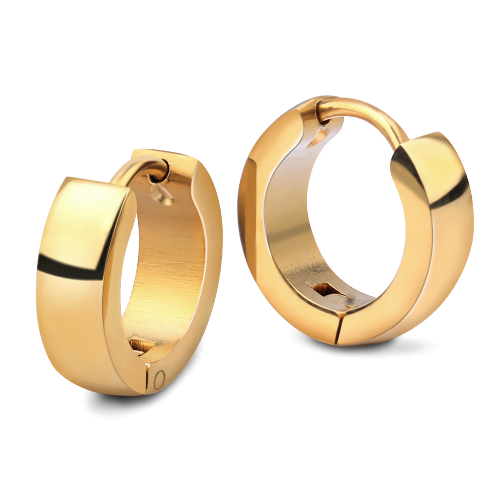 NIBA Cute Hoop Earrings for Women / Men Gold / Silver Plated Stainless Steel Metal Keep Color