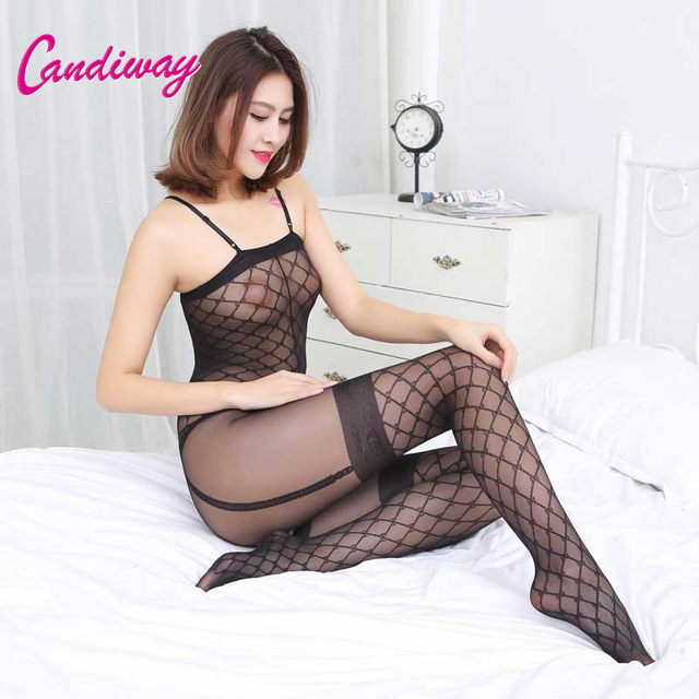 Hot Sale Women Erotic Porn Sexy Lingerie Fishnet Open Crotch Body Stocking Nightwear Bodysuits Nightdress Nightie