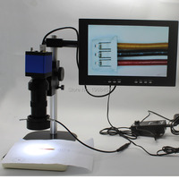 Full HD 1080P HDMI USB Industrial Microscope Camera+8X-130X C-mount Lens+Workbench+Adjustable LED Light+10-inch Monitor