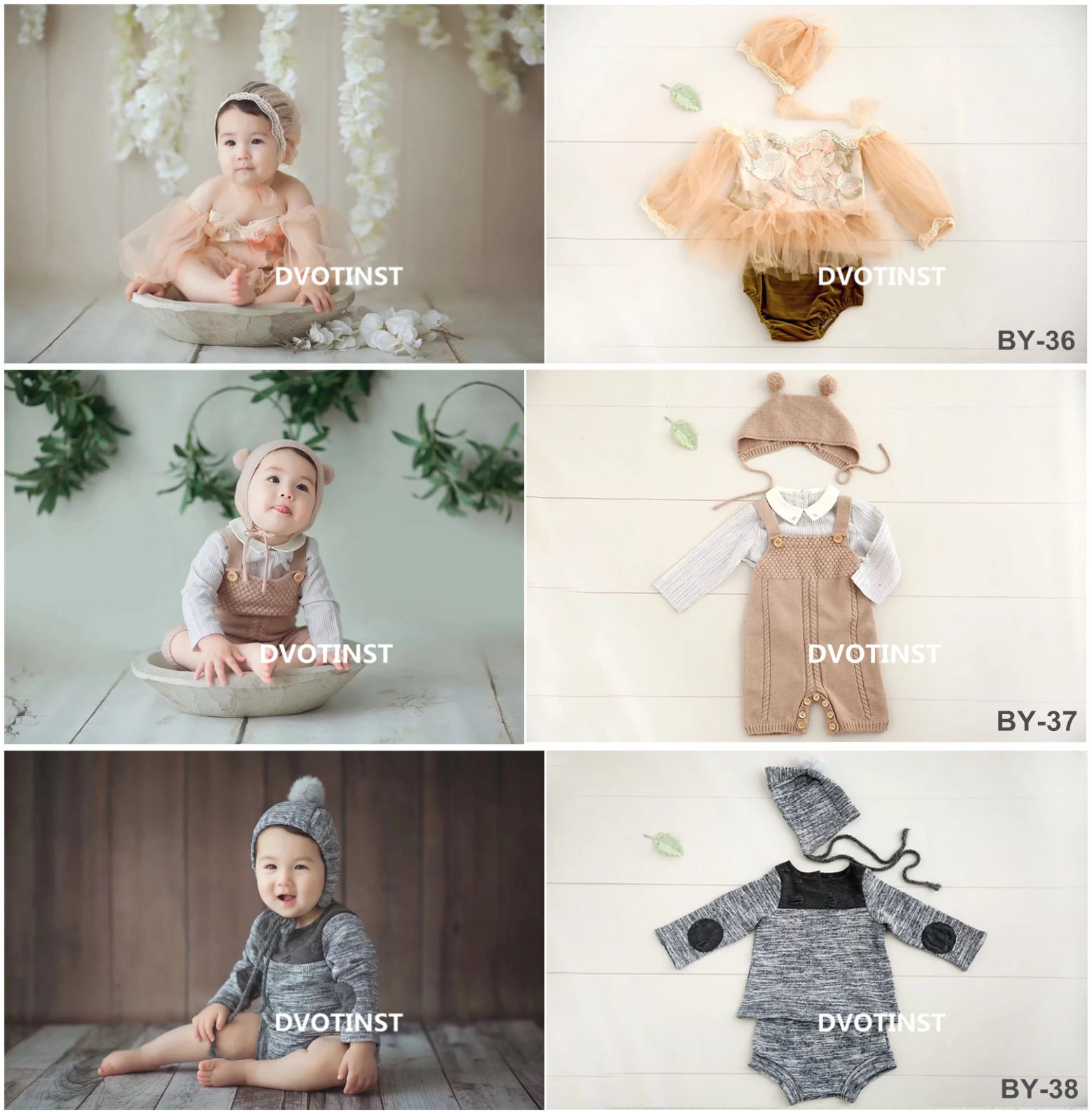 Dvotinst Baby Boys Girls Photography Props Crochet Knitted Lace Outfits Clothes Set Fotografia Accessories Studio Shoot Props цена