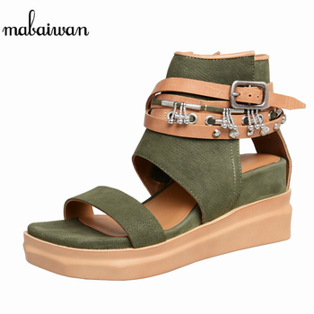 Mabaiwan Summer Women Sandals High Heel Buckle Dress Wedges Shoes Woman Breathable Slippers Genuine Leather Open Toe Sandalias
