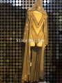 Fashion Glisten Gold Shining Outfit Bodysuit Long Cloak Women Sexy Party Sequins Costume Stage Dance Nightclub Bright Dresses