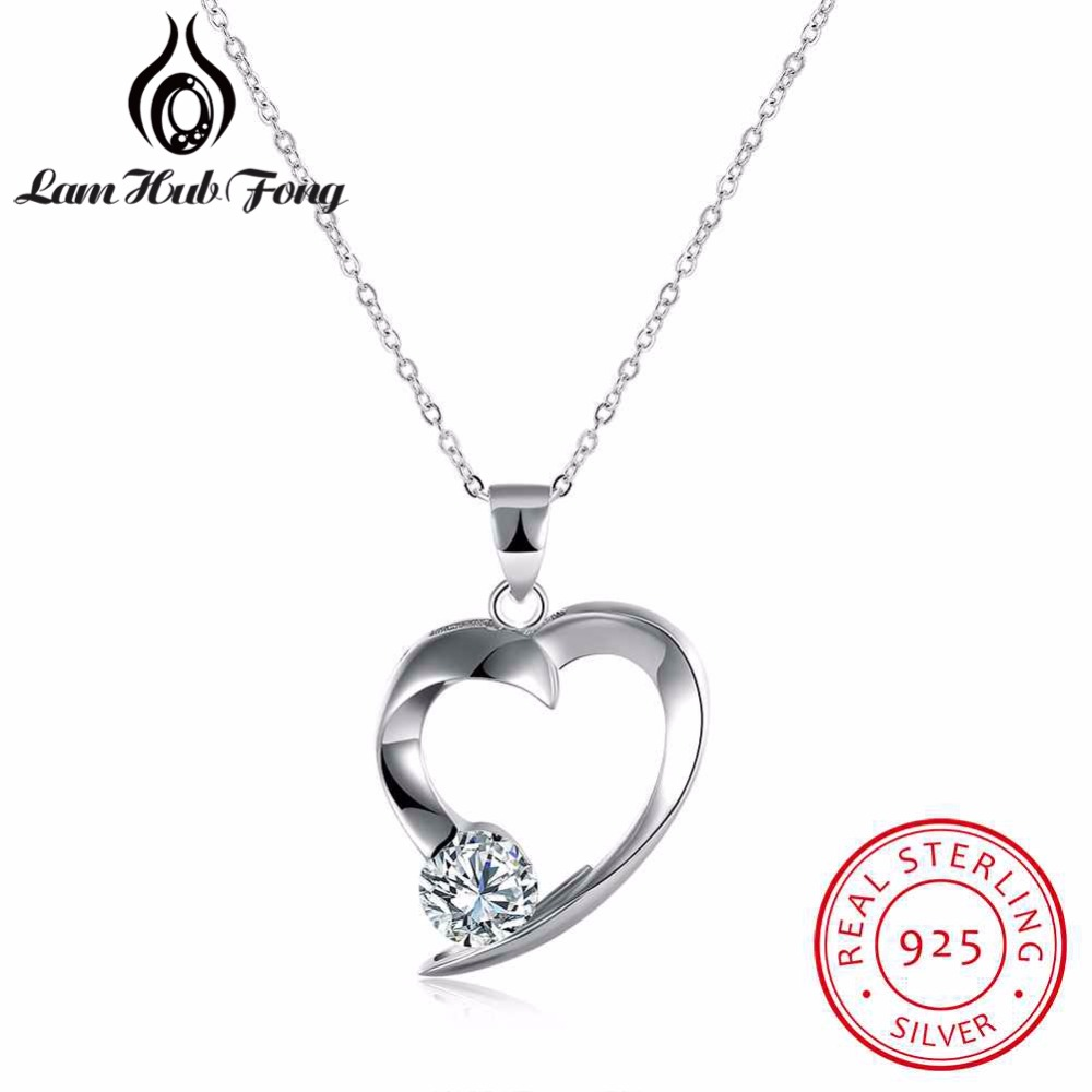 New Real 925 Sterling Silver Heart Pendant Necklaces Cubic Zirconia Wedding Jewelry Women Chain Necklace Romantic Gift