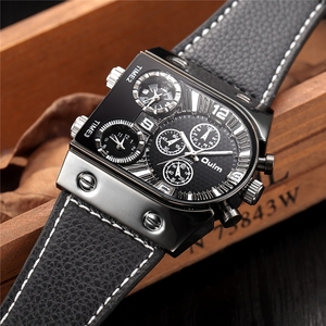 Image 3 - Montres homme Oulm montre Quartz décontractée bracelet en cuir montre bracelet sport homme multi fuseau horaire militaire montre homme horloge relogios