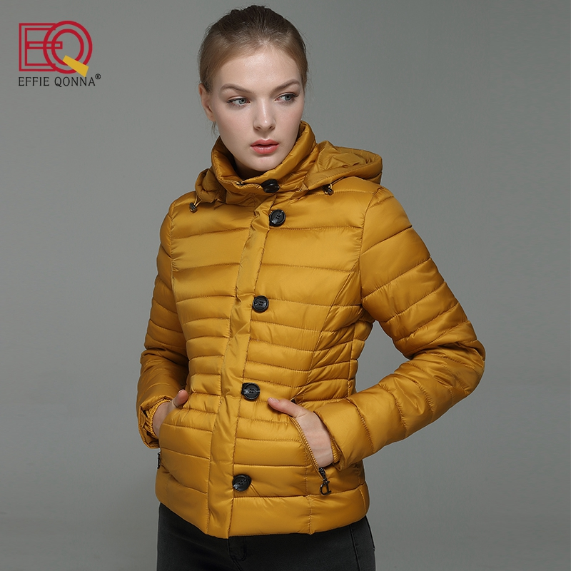 EFFIE QONNA 2017 New Arrival Rose Red Long Sleeve Slimming Women Winter Short Parkas Ladies Yellow Fall outwear Coat Plus Size frank buytendijk dealing with dilemmas where business analytics fall short