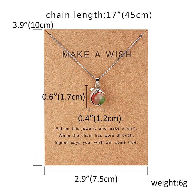 Rinhoo 7,5*10 см, подвеска в виде дельфина из бумаги с натуральным камнем в форме капли воды, геометрическая форма, ожерелье для женщин, аксессуары, подарок