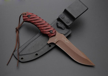 Red G10 Handle Survival Straight Knife Fixed Blade Knife Camping Tactical Hunting Knife