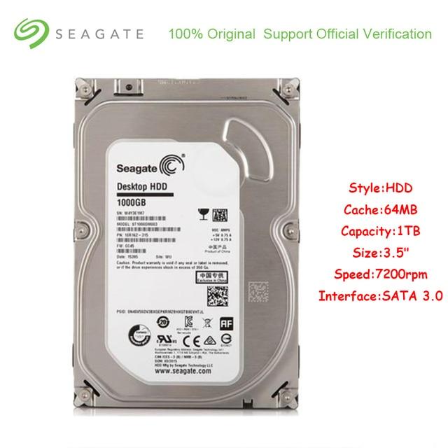 Original Seagate ST1000DM003 1 TB ความจุฮาร์ดดิสก์ภายใน 3.5 นิ้ว SATA 3.0 64 MB Cache 7200 RPM ฮาร์ดดิสก์ไดรฟ์สำหรับเดสก์ท็อปพีซี