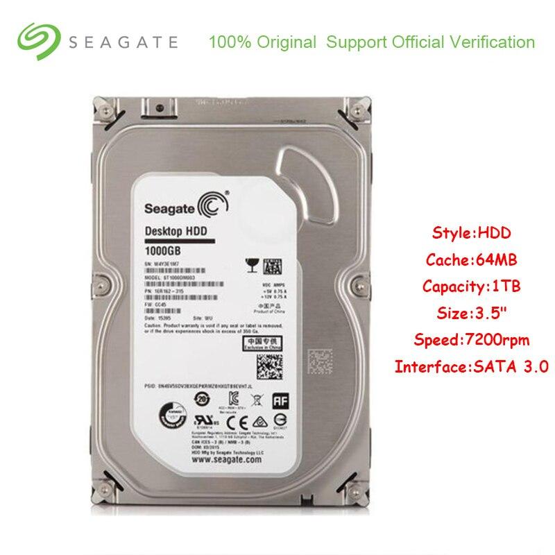 Original Seagate ST1000DM003 1 to capacité interne HDD 3.5 pouces SATA 3.0 64 mo Cache 7200 tr/min disque dur pour ordinateur de bureau