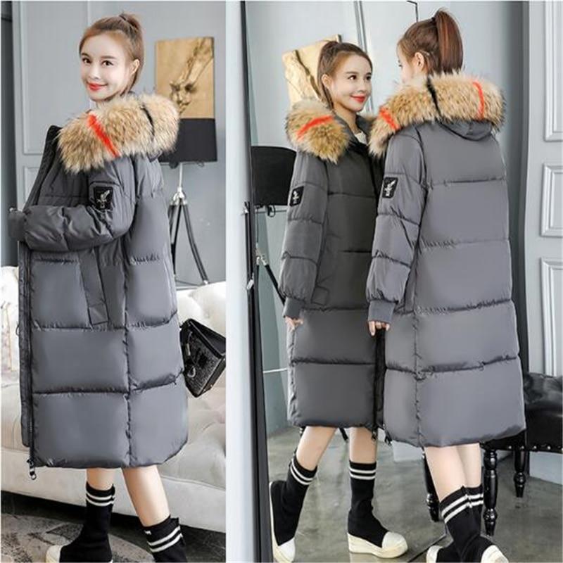 2019 Women Winter Large Fur Hooded   Parkas   Female Thick Warm Cotton Coat Women Wadded Winter Jackets Outwear Plus Size 7XL C812