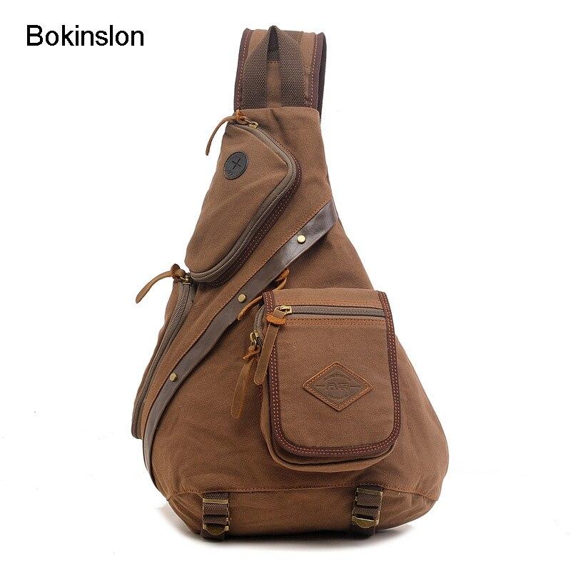 Bokinslon Man Multifunction Chest Bag All-Match Men Canvas Shoulder Bag Retro Mens Shoulder Messenger Bag