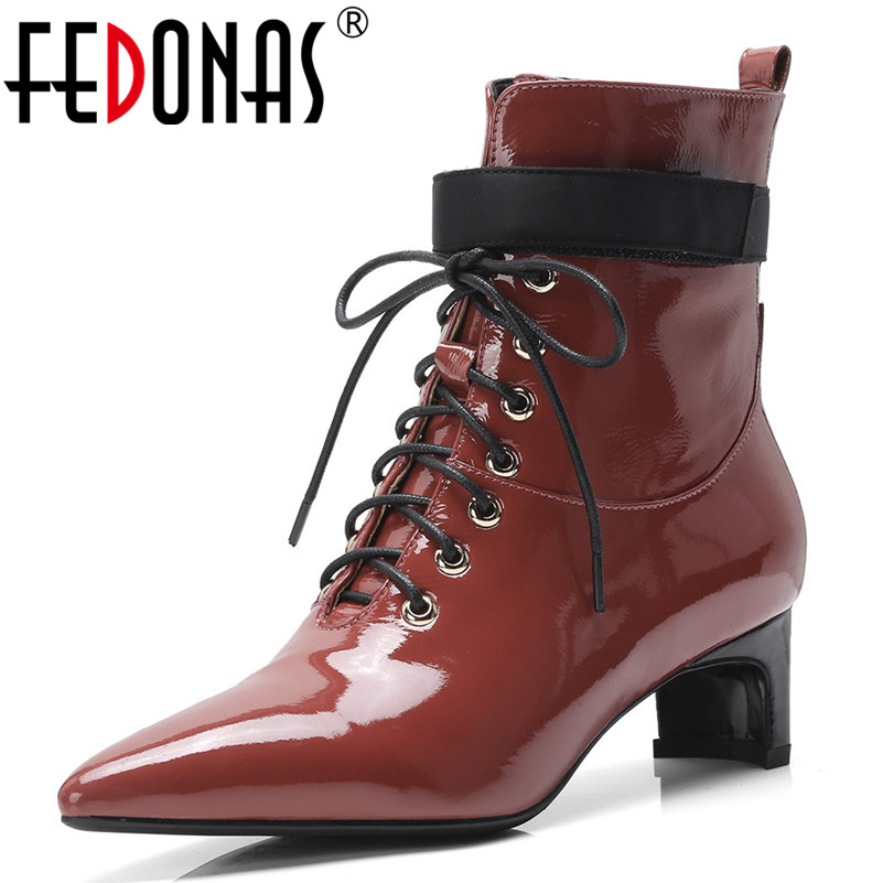 FEDONAS New Patent Leather Women Ankle Boots Lace Up Autumn Winter High Heels Pointed Toe Martin Shoes Woman Party Prom Pumps