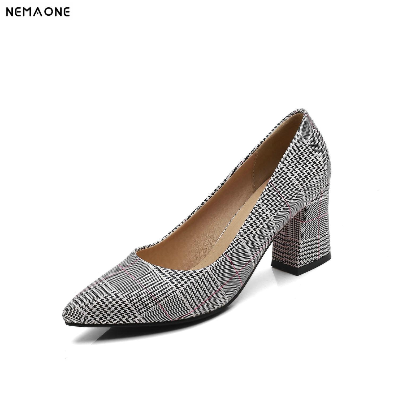 2019 New dress shoes woman tartan design women pumps high