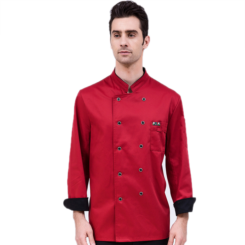 Chef's Jacket Long-Sleeved Restaurant Accessories Hotel Uniform Kitchen Unisex Work Clothes Cooking Coat Overalls