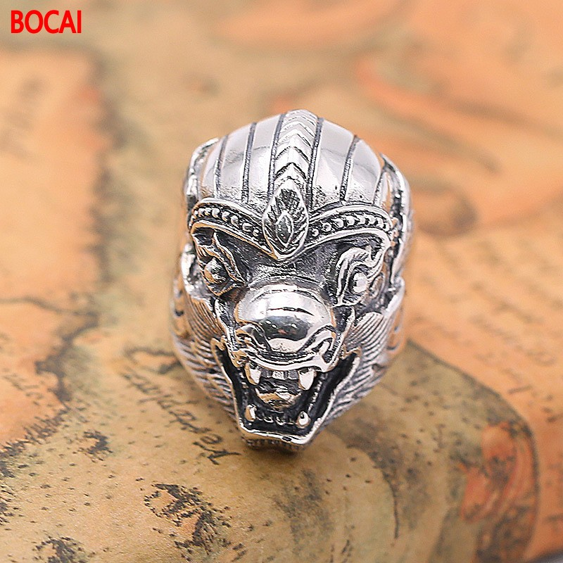 S925 silver ornament Wide character version of the mythical wild animal ring of popular big yards the character of the new fashion women s silver moon moon goddess calla true to life s925 ring