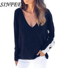 SINFEEL Sweater Women Spring Autumn Pullover Long Sleeve Sexy Off Shoulder V Neck Tops Casual For women knitted sweaters