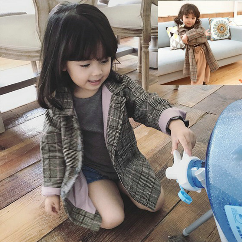 Girls Jackets Fashion Double-Breasted Cotton Coats New Kids Plaid Trench Coats Girls Long Jackets Autumn Children Clothing CC387 2018 new fashion suede lamb wool women coats double breasted warm solid thick long overcoat casual winter cotton jackets female