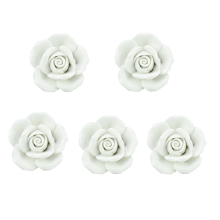Drawer Knob Furniture Handles White Ceramic Rose Knob 5 Piece