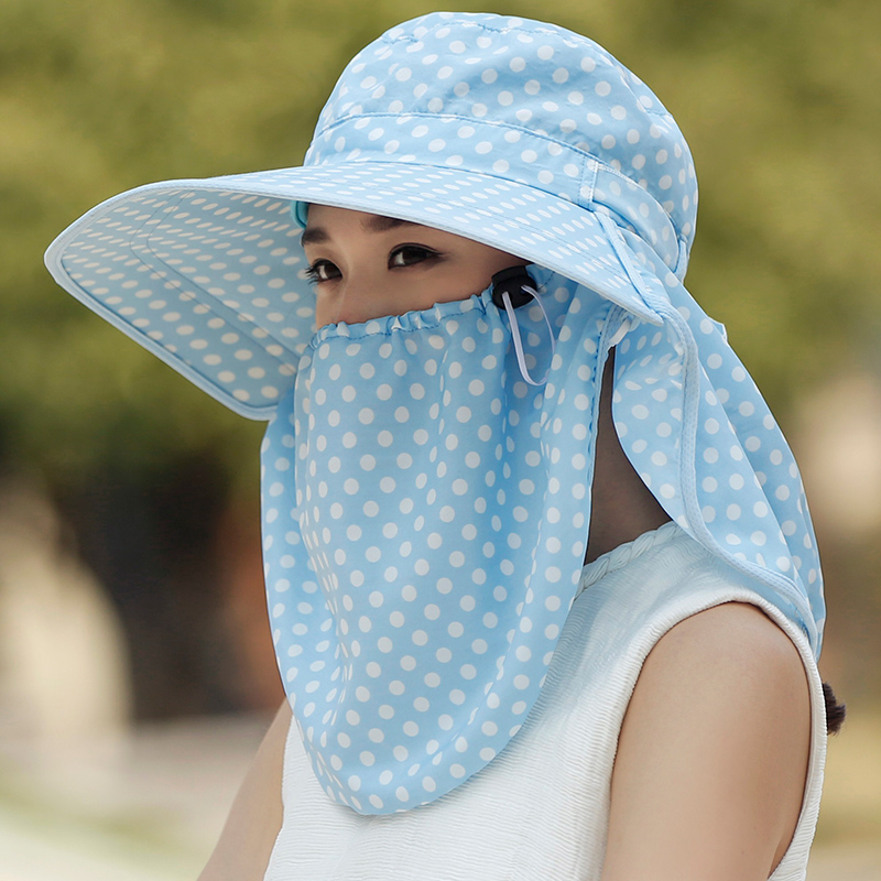 Summer female cover face hat sun protection against ultraviolet radiation along the sun hat outdoor wave point speed dry air hat female summer sun cap folding speed dry outdoor sunshade cap female peaked cap covered his face riding hat
