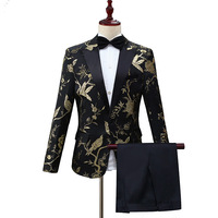 Luxury Black Gold Embroidery Suit Men Nightclub Party Wedding Suits Men DJ Stage Clothes for Singers Mens Suits with Pants XXL