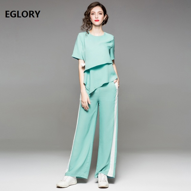 Women Set Clothes 2018 Summer Fashion Bow Elegant Tops TShirt+Full Length Long Pants Set 2 Piece Casual Sportwear Lady Tracksuit