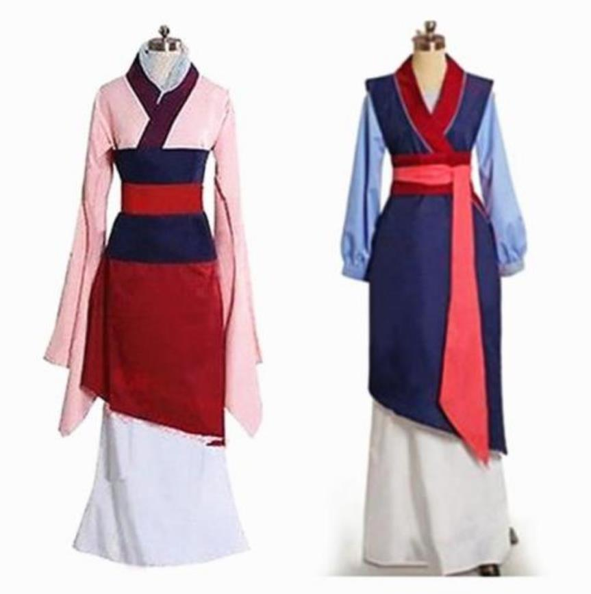 Adult Kids Movie Mulan Cosplay Costume Red Blue Dress Princess Dress Cosplay Costume Custom Made Full Set