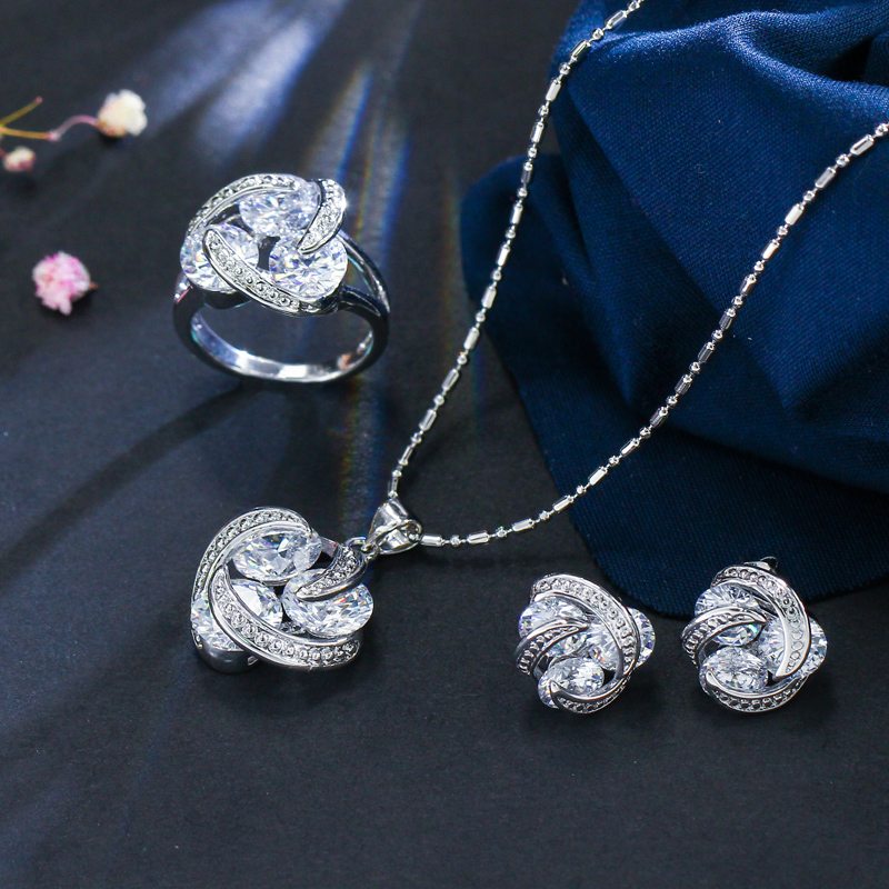 Fashion 925 Sterling Silver Knot Earrings Necklace and Ring Jewelry Set