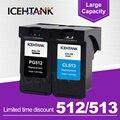 ICEHTANK Восстановленный чернильный картридж для Canon PG 512 PG512 512XL 513 CL513 PG-512 PIXMA MP240 MP250 MP270 картриджи для принтера
