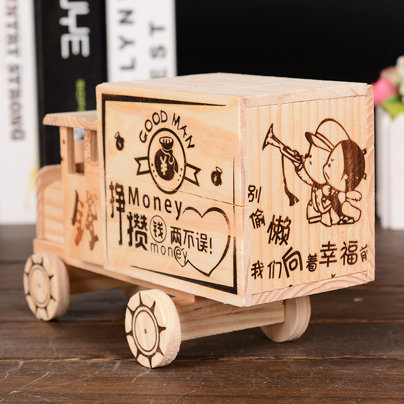 Wood Car Shape Money Boxes Children Toy Car Model Wooden Piggy Bank Cofre Home Decor Gifts For