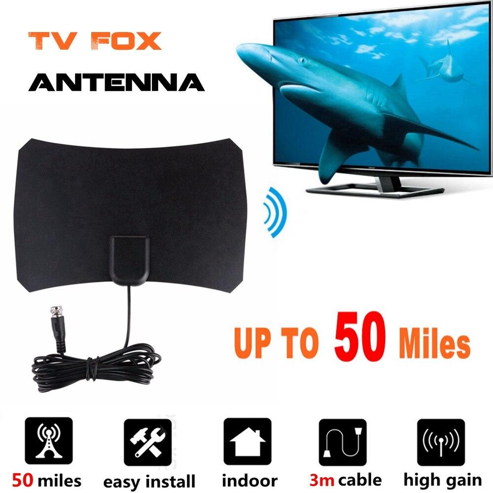 Alta ganancia Antena Interior de televisión Digital HD TV radio antenas TV Surf Antena TV zorro aérea Interior amplificador DVB-T2/ T UHF VHF antena