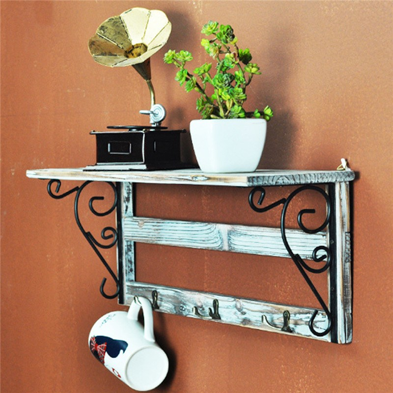 Wall Hanging Shelf Shabby Chic Decorative Wooden Hooks Book Vase Bonsai Holder Stand Woo ...