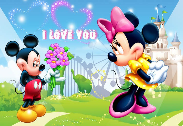 Large Cartoon Mickey Mouse Painting Design 3d Wallpaper For Kid S