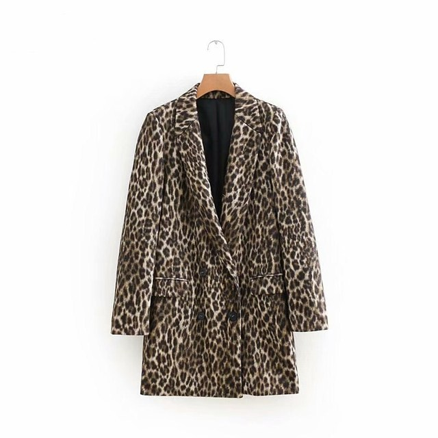 Women Leopard Print Long Blazer Long Sleeve Coat Long Outerwear Work Office Clothing Autumn Winter